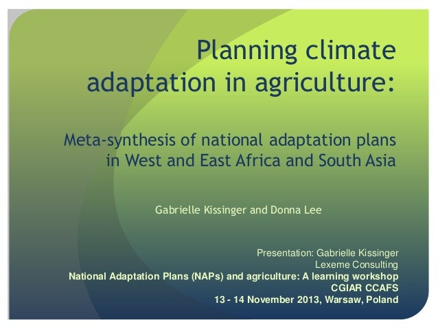 Planning climate adaptation in agriculture: Meta-synthesis of national adaptation plans in West and East Africa and South ...