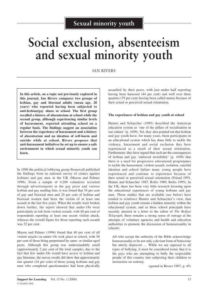 Sexual minority youth           Social exclusion, absenteeism          and sexual minority youth                          ...