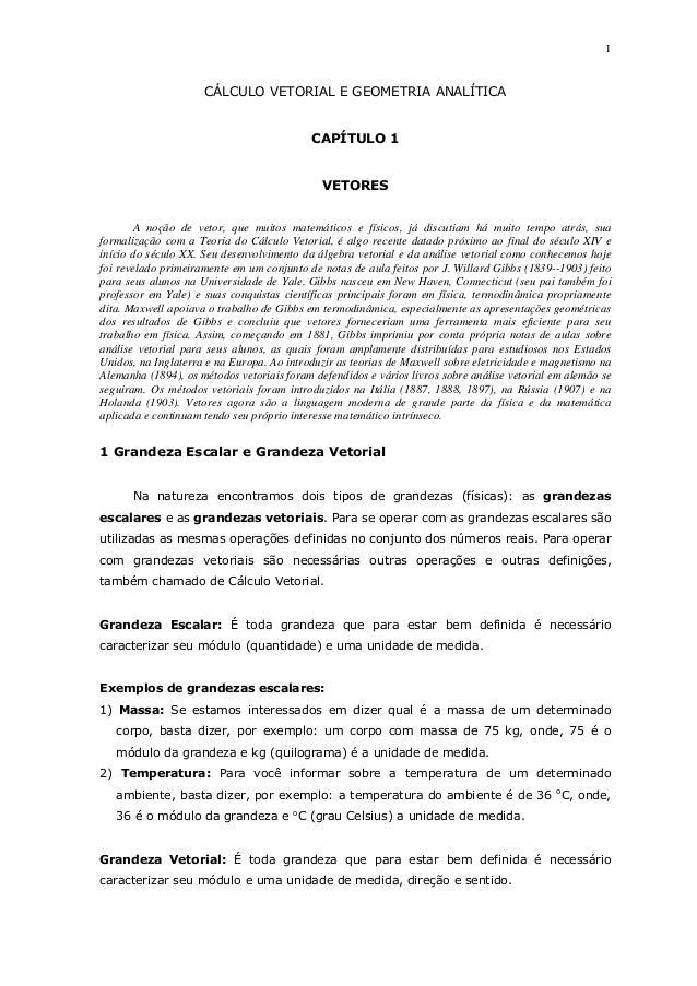 1CÁLCULO VETORIAL E GEOMETRIA ANALÍTICACAPÍTULO 1VETORESA noção de vetor, que muitos matemáticos e físicos, já discutiam h...