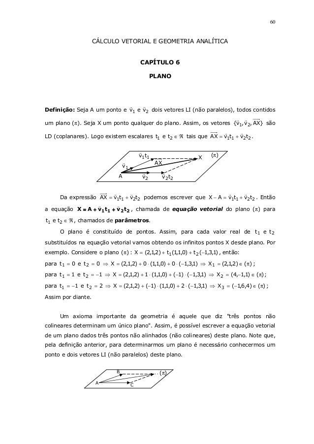 60CÁLCULO VETORIAL E GEOMETRIA ANALÍTICACAPÍTULO 6PLANODefinição: Seja A um ponto e 21 vev dois vetores LI (não paralelos)...