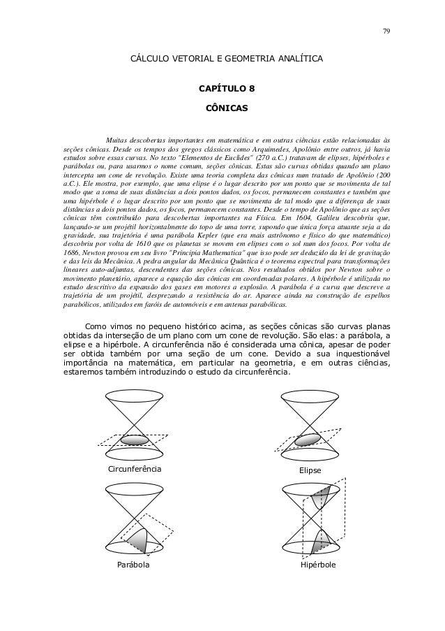 79CÁLCULO VETORIAL E GEOMETRIA ANALÍTICACAPÍTULO 8CÔNICASMuitas descobertas importantes em matemática e em outras ciências...