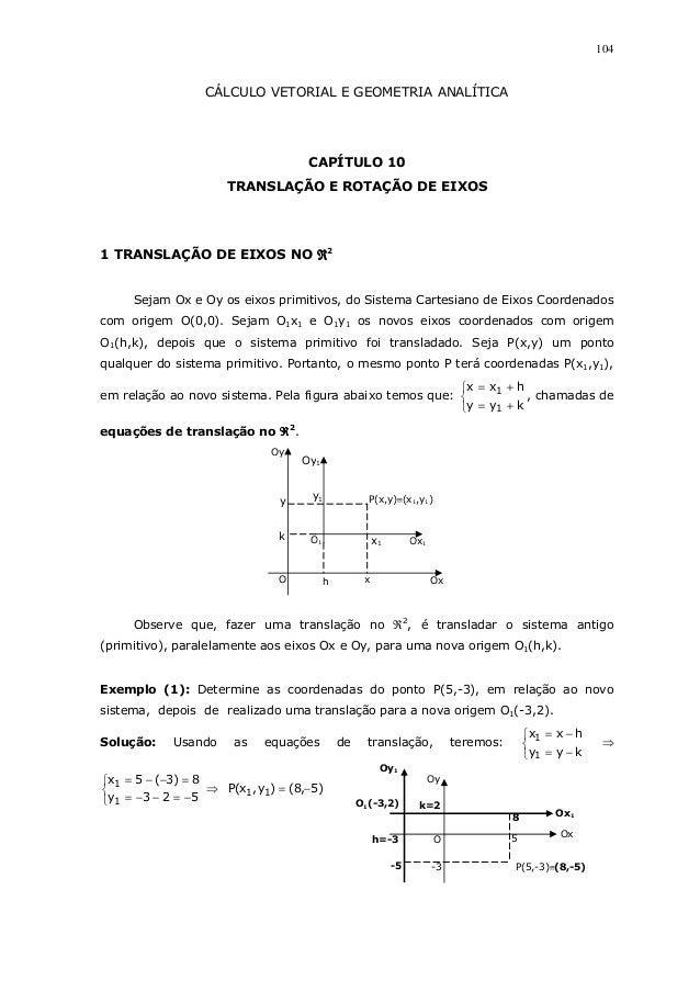 104CÁLCULO VETORIAL E GEOMETRIA ANALÍTICACAPÍTULO 10TRANSLAÇÃO E ROTAÇÃO DE EIXOS1 TRANSLAÇÃO DE EIXOS NO ℜℜℜℜ2Sejam Ox e ...