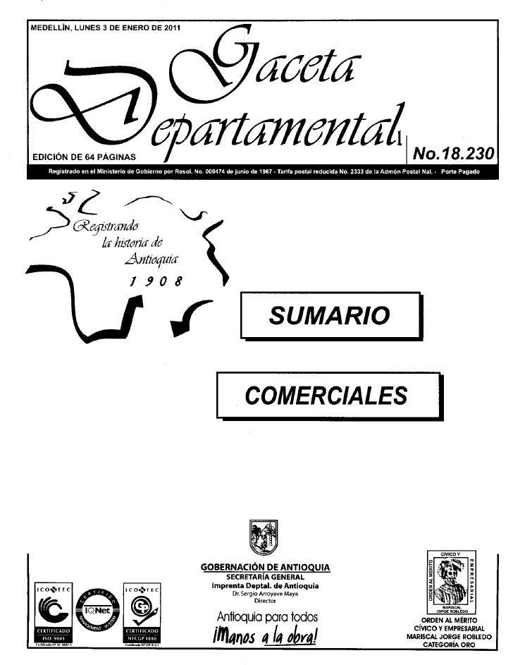 Gaceta departamental-18230-3-enero-2011, resoluciones gobernación de antioquia