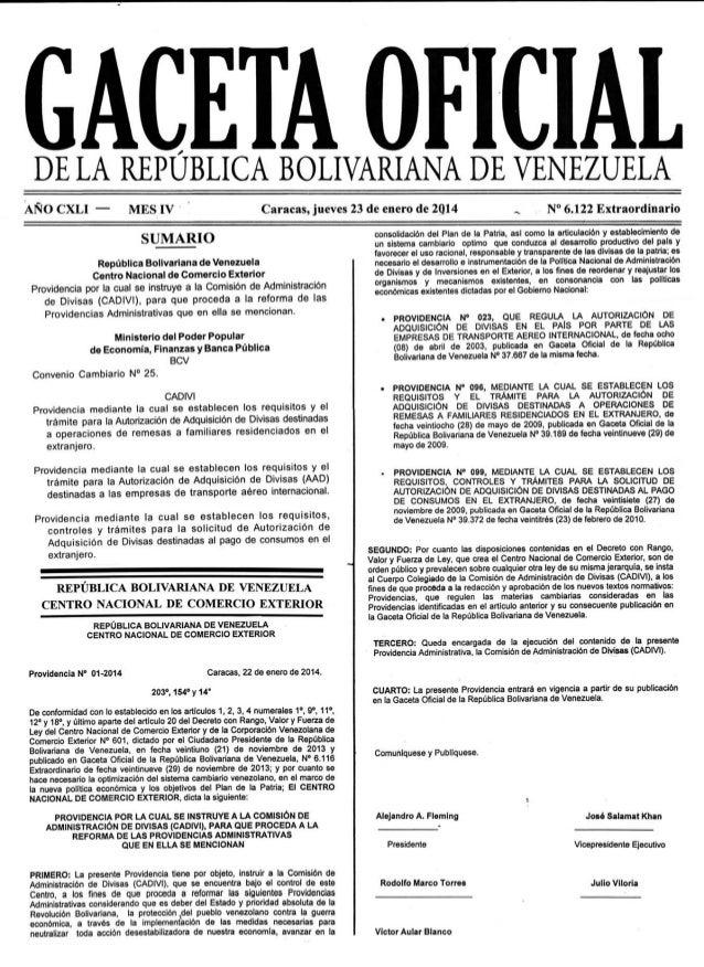Gaceta Oficial de Venezuela 6.122