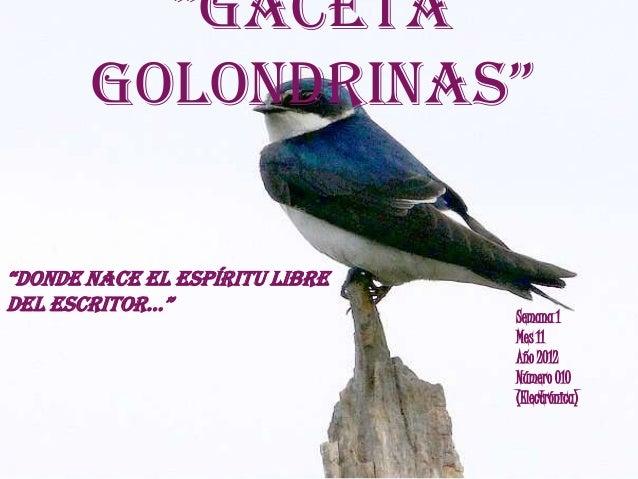 """Gaceta       Golondrinas""""donde nace el espíritu libredel escritor…""                                Semana 1             ..."