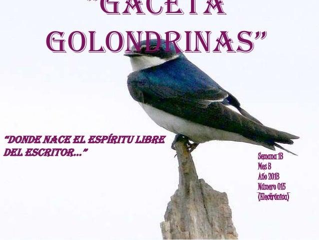 """""""GacetaGolondrinas""""Semana 13Mes 3Año 2013Número 015(Electrónica)""""donde nace el espíritu libredel escritor…"""""""