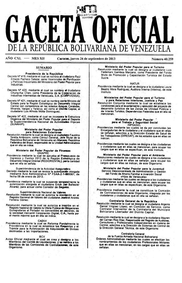 Gaceta oficial 40259 Modificacion Providencia 108 Cadivi Importaciones