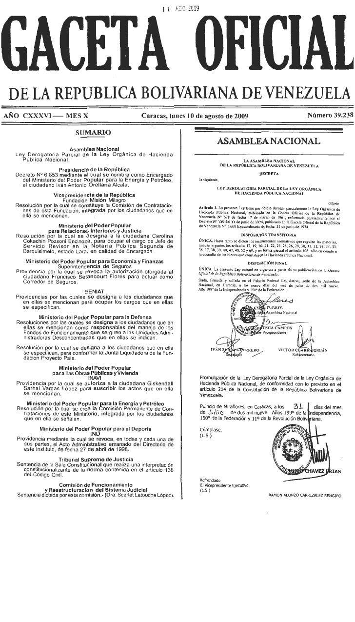 Gaceta Oficial Nro. 39238 Del Jueves 10 De Agosto De 2009
