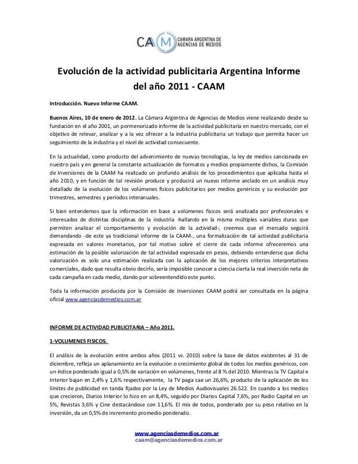 Evolucion actividad publicitaria en Argentina 2011