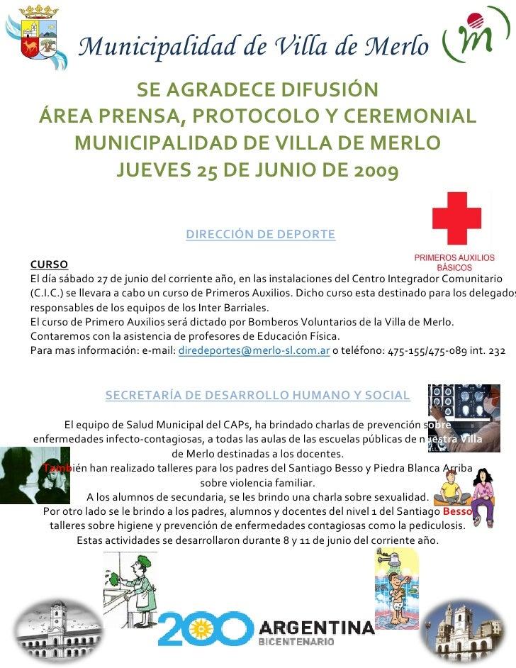 Gacetilla Municipal 25 De Junio