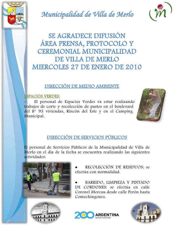 Municipalidad de Villa de Merlo          SE AGRADECE DIFUSIÓN       ÁREA PRENSA, PROTOCOLO Y      CEREMONIAL MUNICIPALIDAD...