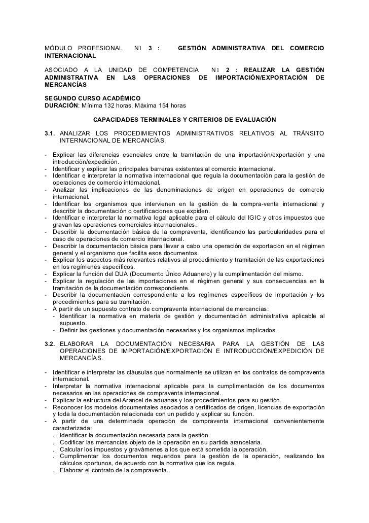 MÓDULO PROFESIONAL               N1   3 :       GESTIÓN ADMINISTRATIVA DEL COMERCIO INTERNACIONAL  ASOCIADO A LA UNIDAD DE...