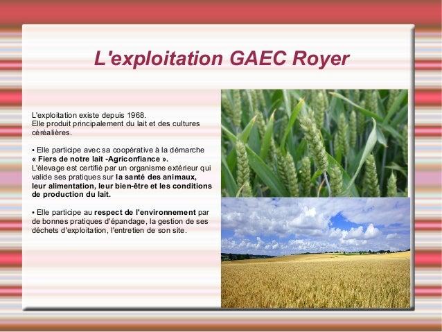 L'exploitation GAEC Royer L'exploitation existe depuis 1968. Elle produit principalement du lait et des cultures céréalièr...