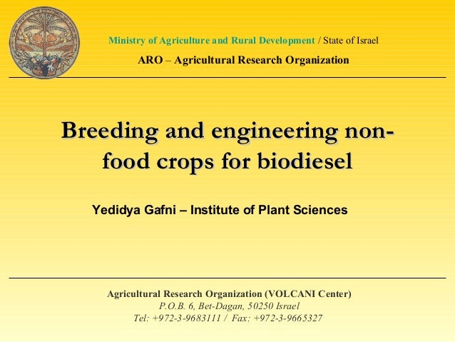 Breeding and engineering non-Breeding and engineering non-food crops for biodieselfood crops for biodieselAgricultural Res...