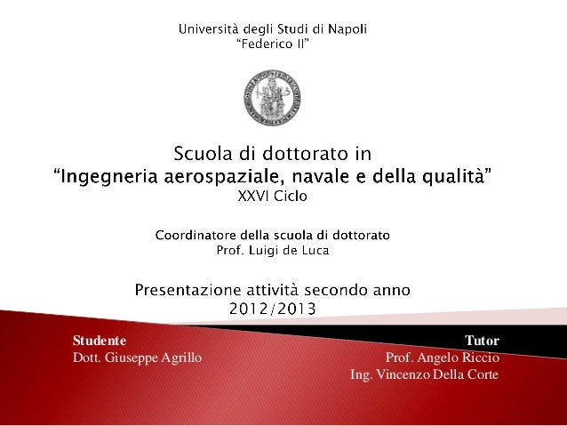 StudenteDott. Giuseppe AgrilloTutorProf. Angelo RiccioIng. Vincenzo Della Corte