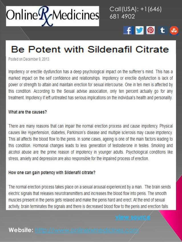 Be Potent with Sildenafil Citrate