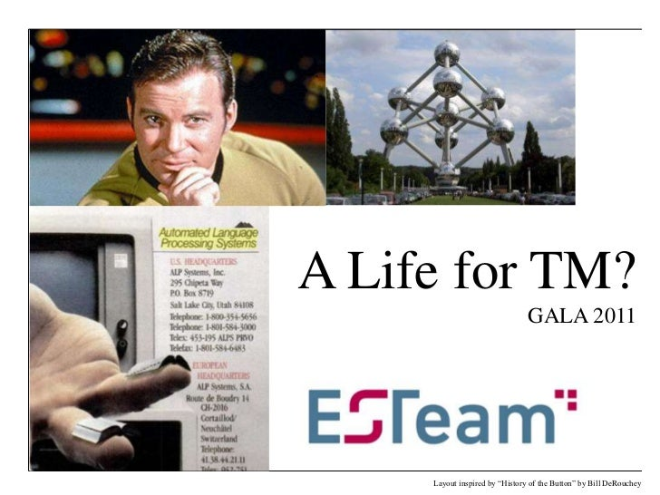 """A Life for TM?GALA 2011<br />Layout inspired by """"History of the Button"""" by Bill DeRouchey<br />"""