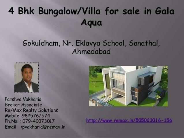 4 Bhk Bungalow/Villa for sale in Gala Aqua-Gokuldham, Nr. Eklavya School, Sanathal, Ahmedabad
