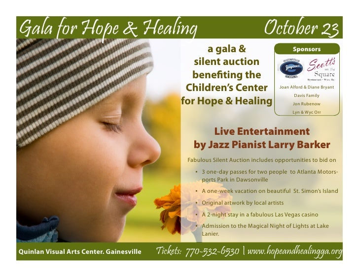 Children's Center for Hope & Healing Gala flyer 11 x 8.5