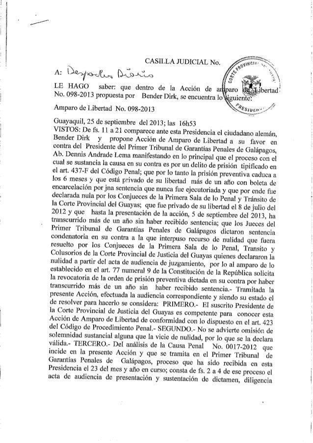 Sentencia de la Corte Provincial de Justicia del Guayas que libera al Aleman Dirk Bender
