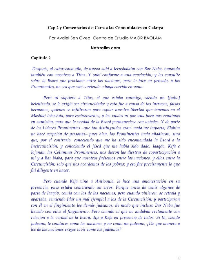 Cap.2 y Comentarios de: Carta a las Comunidades en Galatya            Por Avdiel Ben Oved Centro de Estudio MAOR BAOLAM   ...