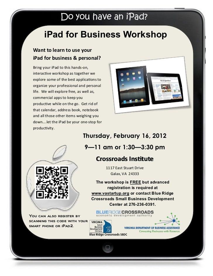 Galax iPad Workshop Flier, February 16, 2012 (AM & PM Sessions)