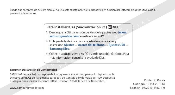 Puede que el contenido de este manual no se ajuste exactamente a su dispositivo en funcion del software del dispositivo o ...