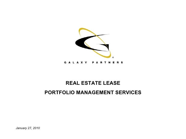 REAL ESTATE LEASE PORTFOLIO MANAGEMENT SERVICES January 27, 2010