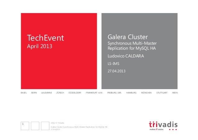 Galera Cluster  TechEvent  Synchronous Multi-Master Replication for MySQL HA  April 2013  Ludovico CALDARA LS-IMS 27.04.20...