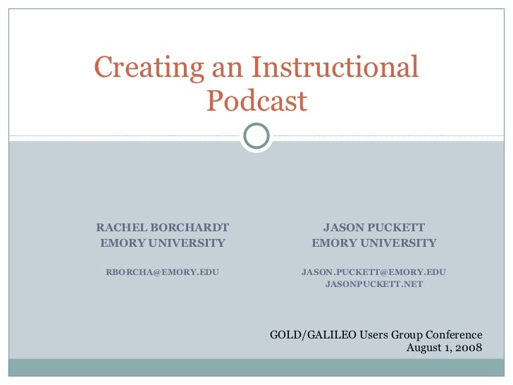 Creating an Instructional Podcast