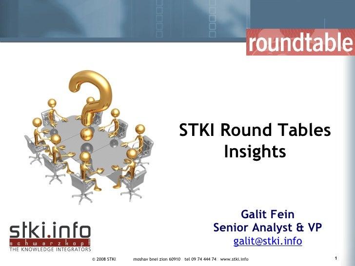 Galit Fein Senior Analyst & VP [email_address] STKI Round Tables Insights