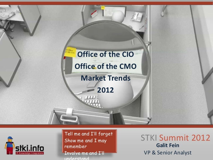 Office of the CIO    Office of the CMO     Market Trends           2012Tell me and I'll forgetShow me and I may         ST...