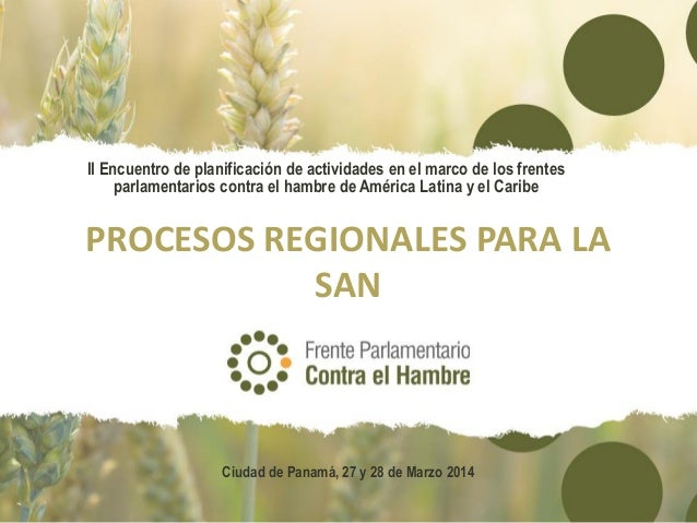 PROCESOS REGIONALES PARA LA SAN II Encuentro de planificación de actividades en el marco de los frentes parlamentarios con...