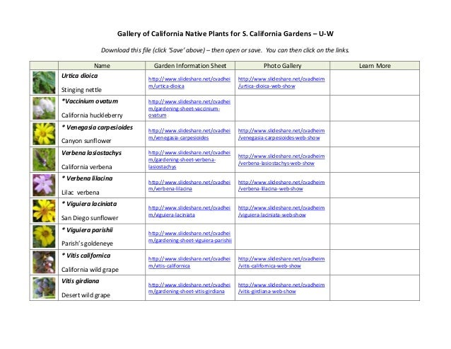 Gallery of California Native Plants for S. California Gardens – U-W  Download this file (click 'Save' above) – then open o...