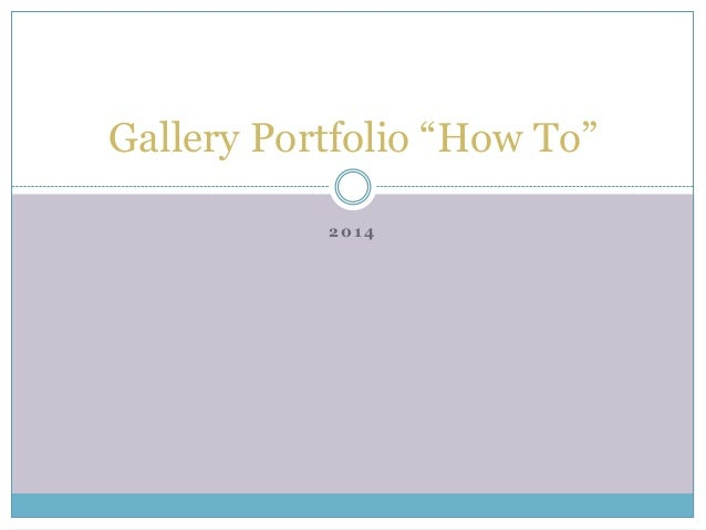 Gallery portfolio instructions