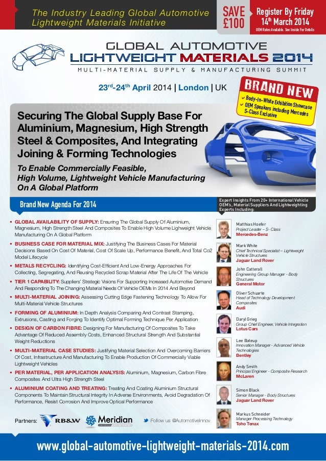 Global Automotive Lightweight Materials 2014 Multi-Material Supply & Manufacturing Summit 2014