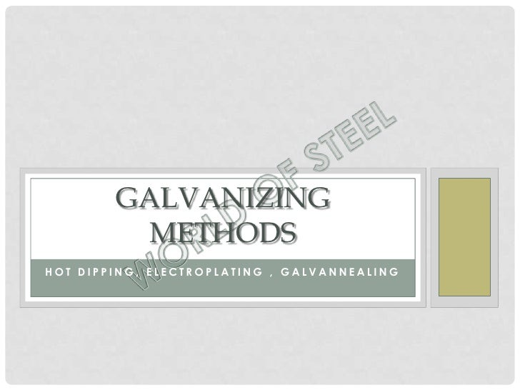 GALVANIZING          METHODSHOT DIPPING, ELECTROPLATING , GALVANNEALING