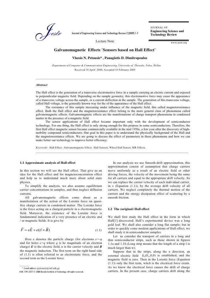 Galvanomagnetic Effects Sensors Based On Hall Effect
