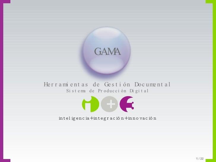 Herramientas de Gestión Documental Sistema de Producción Digital inteligencia+integración+innovación GAMA  / 22