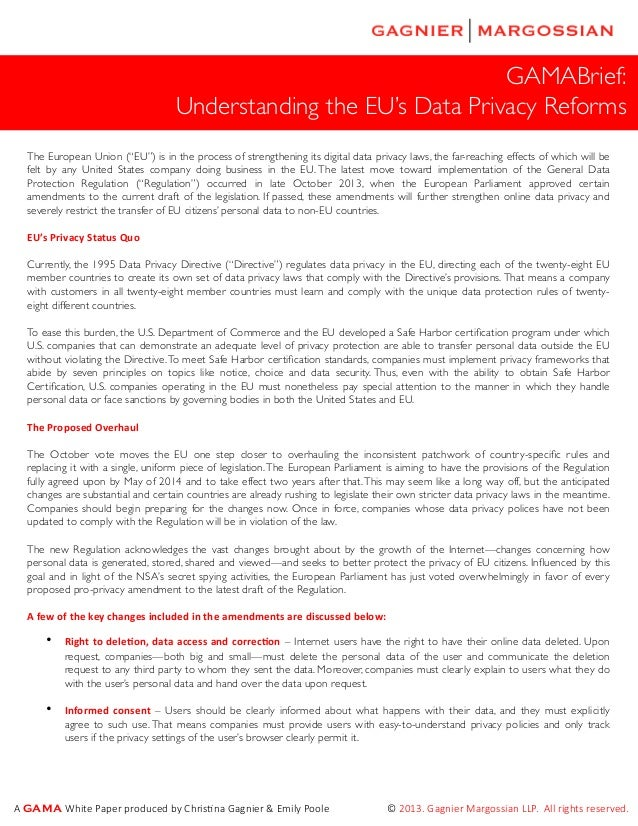 """GAMABrief: Understanding the EU's Data Privacy Reforms The European Union (""""EU"""") is in the process of strengthening its di..."""