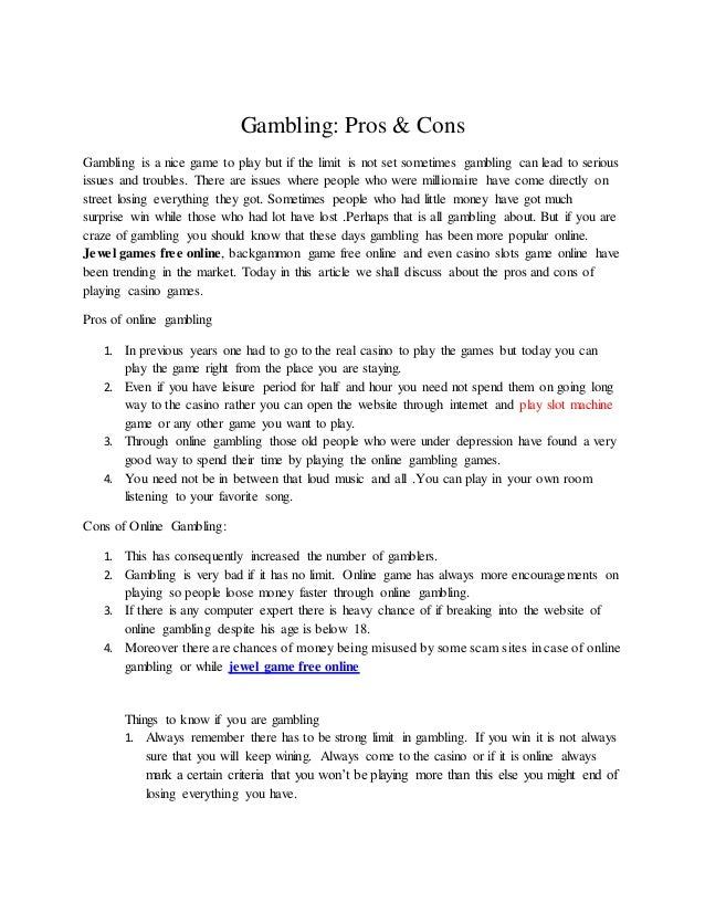 Assays on pros and cons of casino gambling casino hotel palm resort spa springs
