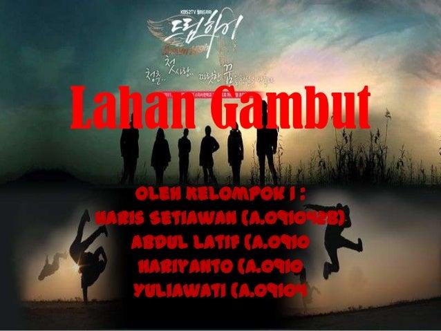 Lahan Gambut    Oleh Kelompok 1 :Haris Setiawan (A.0910428)   Abdul Latif (A.0910    Hariyanto (A.0910    Yuliawati (A.09104