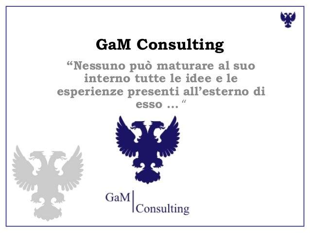"""GaM Consulting""""Nessuno può maturare al suointerno tutte le idee e leesperienze presenti all'esterno diesso … """""""