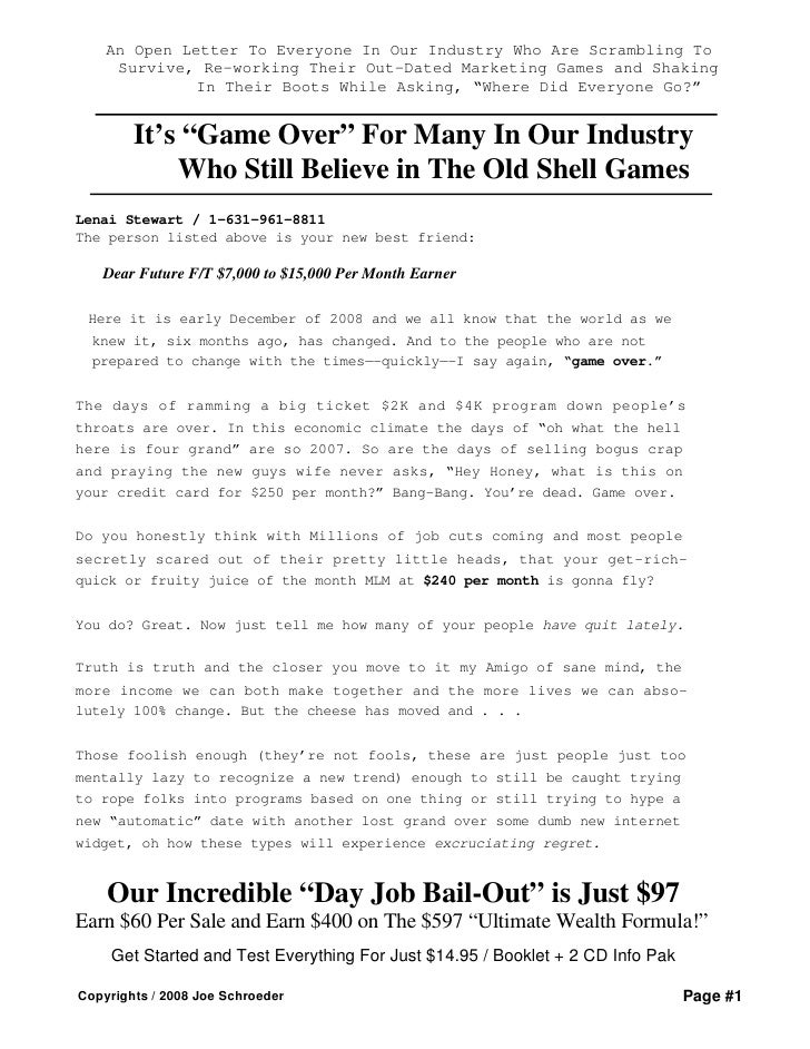Game Over Bail Out Exposes MLM Lies