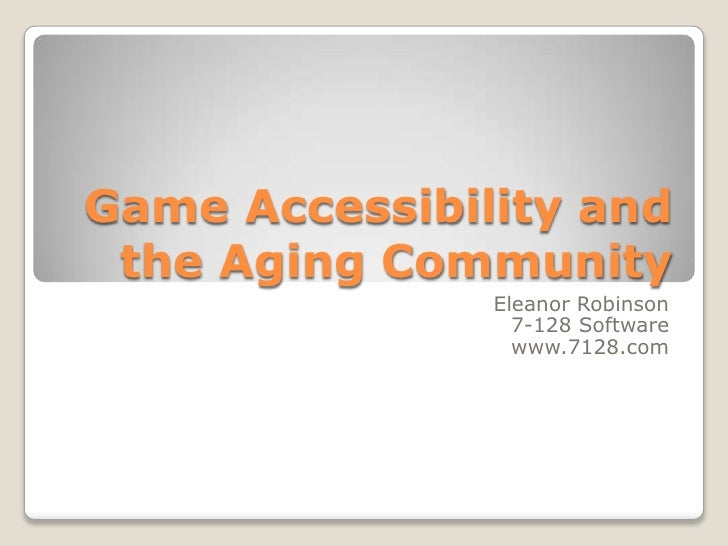Game accessibility and the aging community