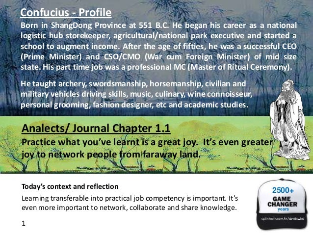 Confucius - Profile Born in ShangDong Province at 551 B.C. He began his career as a national logistic hub storekeeper, agr...