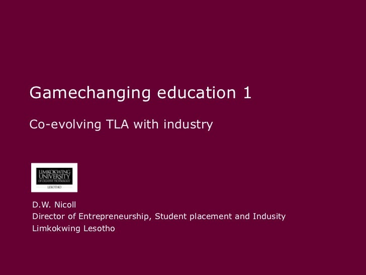Gamechanging education 1