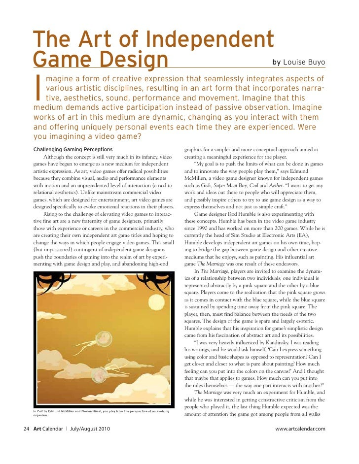 The Art of Independent    Game Design                                                                                     ...
