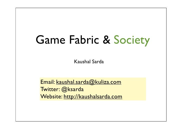 Game fabric & society