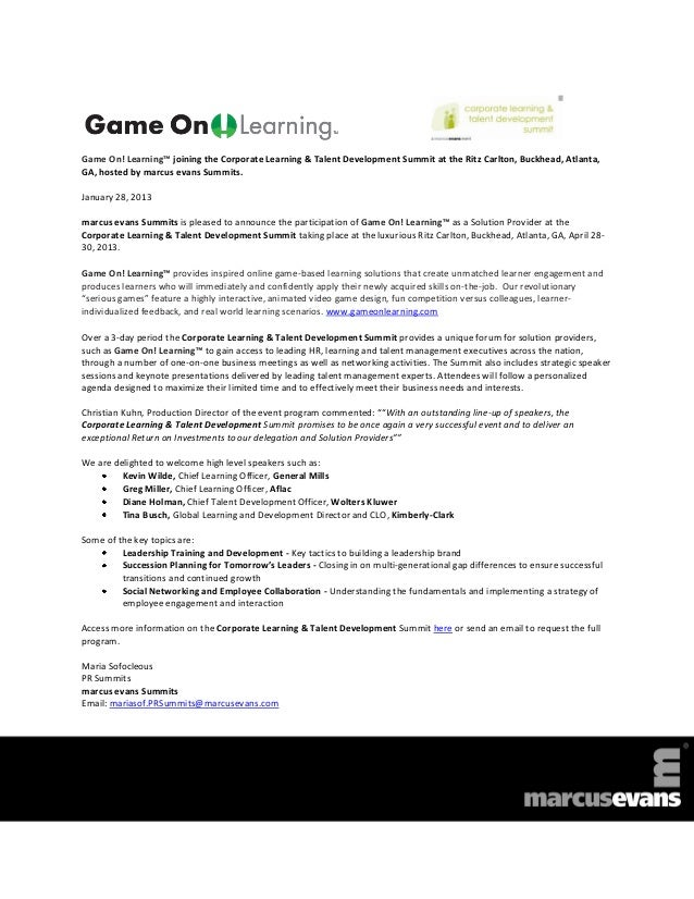 Game On! Learning™ joining the Corporate Learning & Talent Development Summit at the Ritz Carlton, Buckhead, Atlanta,GA, h...